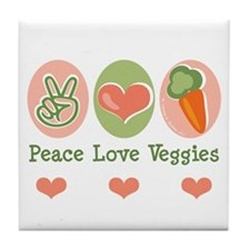 Peace Love Veggies Vegan Tile Coaster