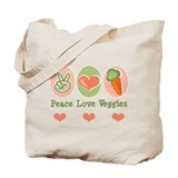 Peace Love Veggies Vegan Tote Bag