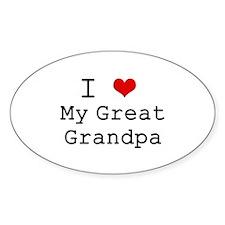I Heart My Great Grandpa Oval Decal