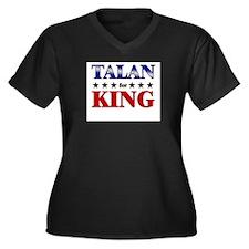 TALAN for king Women's Plus Size V-Neck Dark T-Shi