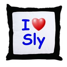 I Love Sly (Blue) Throw Pillow