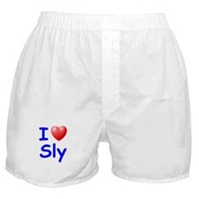 I Love Sly (Blue) Boxer Shorts