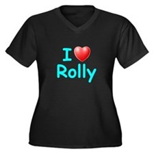 I Love Rolly (Lt Blue) Women's Plus Size V-Neck Da