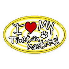 Hypno I Love My Tibetan Mastiff Sticker Yellow