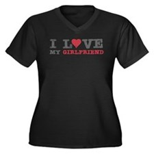 I Love (heart) My Girlfriend Women's Plus Size V-N