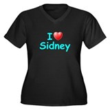 I Love Sidney (Lt Blue) Women's Plus Size V-Neck D