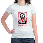 Follow Chairman Pug! 2-sided Jr. Ringer T-Shirt