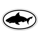 Great White Shark Oval Bumper Stickers