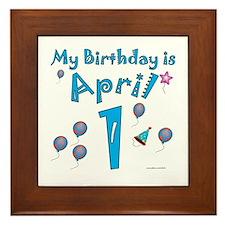 April 1st Birthday Framed Tile