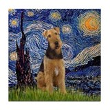 Starry Night &amp; Airedale #6 Tile Coaster