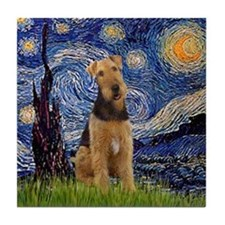 Starry Night & Airedale #6 Tile Coaster