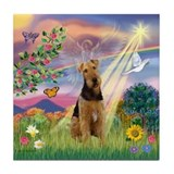 Cloud Angel and Airedale Tile Coaster