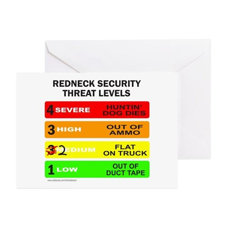 REDNECK SECURITY THREAT Greeting Cards (Pk of 10)