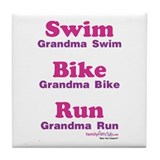 Triathlon Grandma Tile Coaster