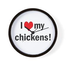 heart my chickens Wall Clock