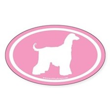 Afghan Hound Oval (white on pink) Oval Decal