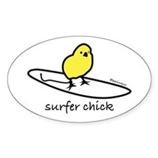 """Surfer Chick"" Oval Decal"