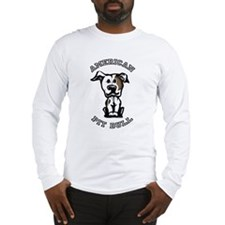 Brown & White Pit Bull Long Sleeve T-Shirt