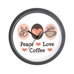 Peace Love Coffee Lovers Wall Clock