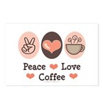 Peace Love Coffee Lovers Postcards (Package of 8)
