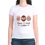 Peace Love Coffee Lovers Jr. Ringer T-Shirt