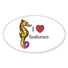 Seahorses Oval Sticker