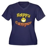 Happy Camper Women's Plus Size V-Neck Dark T-Shirt