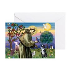 St Francis & Boston Terrier Greeting Cards (Pk of