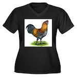 Easter Egg Rooster Women's Plus Size V-Neck Dark T