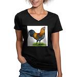 Easter Egg Rooster Women's V-Neck Dark T-Shirt