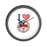 I Love Chile Football Wall Clock