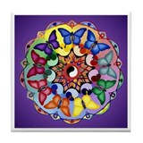 Purple Rainbow Butterfly Mandala Tile Coaster
