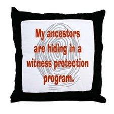 Genealogy's Witness Protection (red) Throw Pillow