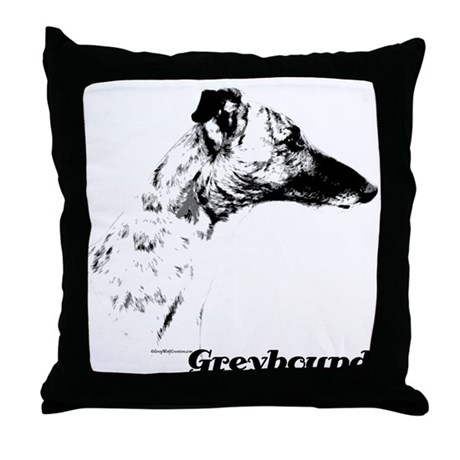 Greyhound Charcoal Throw Pillow