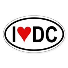 I Love DC Oval Decal