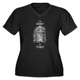 Shirt of Turin Women's Plus Size V-Neck Dark T-Shi