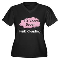 Pink Cloud 10 Women's Plus Size V-Neck Dark T-Shir