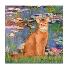 Lilies & Red Abyssinian cat (S) Tile Coaster