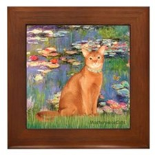 Lilies & Red Abyssinian cat (S) Framed Tile