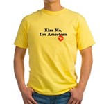 Kiss Me, I'm American Yellow T-Shirt