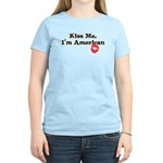 Kiss Me, I'm American Women's Light T-Shirt