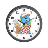 Lil Blue Elephant Golfing Wall Clock