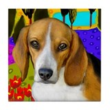 BEAGLE DOG LAKE Tile Coaster