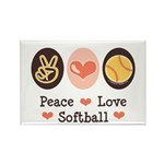 Peace Love Softball Team Rectangle Magnet (100 pac