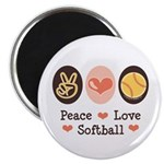 Peace Love Softball Magnet