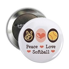 "Peace Love Softball Team 2.25"" Button (10 pack)"