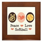 Peace Love Softball Framed Tile