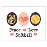 Peace Love Softball Small Poster