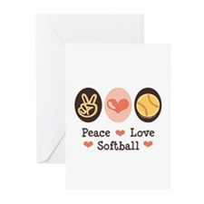 Peace Love Softball Greeting Cards (Pk of 20)