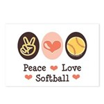 Peace Love Softball Postcards (Package of 8)